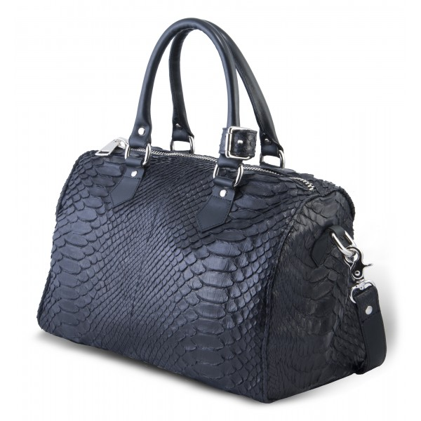 Garage par Reveil - Speedy Bag - Python Bag - Black - Handmade in Italy - Luxury High Quality Accessory