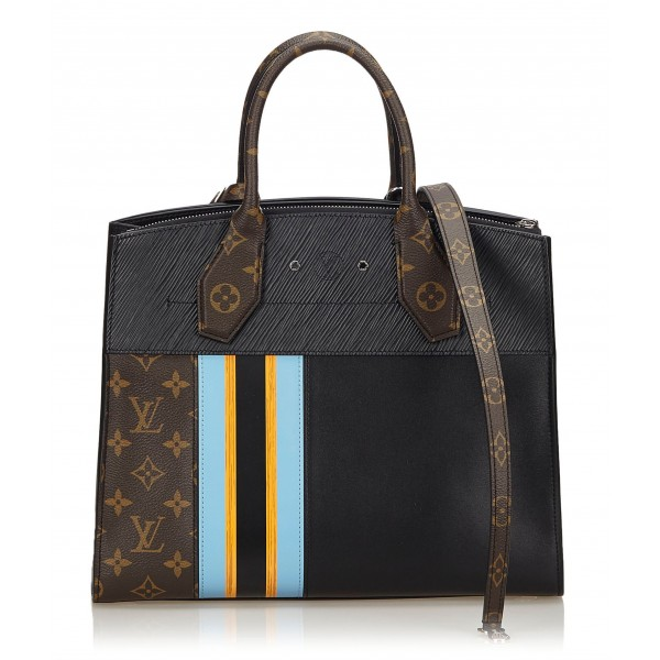 Louis Vuitton Vintage - City Steamer MM Bag - Black - Canvas Leather Calf Handbag - Luxury High Quality