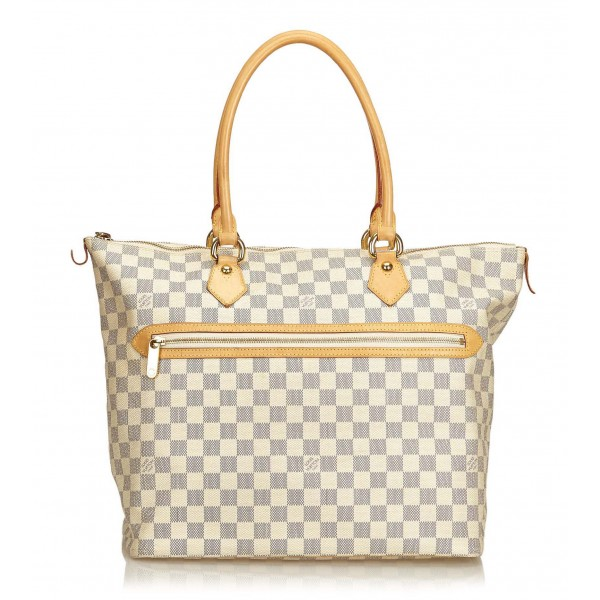 Louis Vuitton Vintage - Damier Azure Saleya GM Bag - Bianco Avorio Blu - Borsa in Pelle e Tela Damier - Alta Qualità Luxury