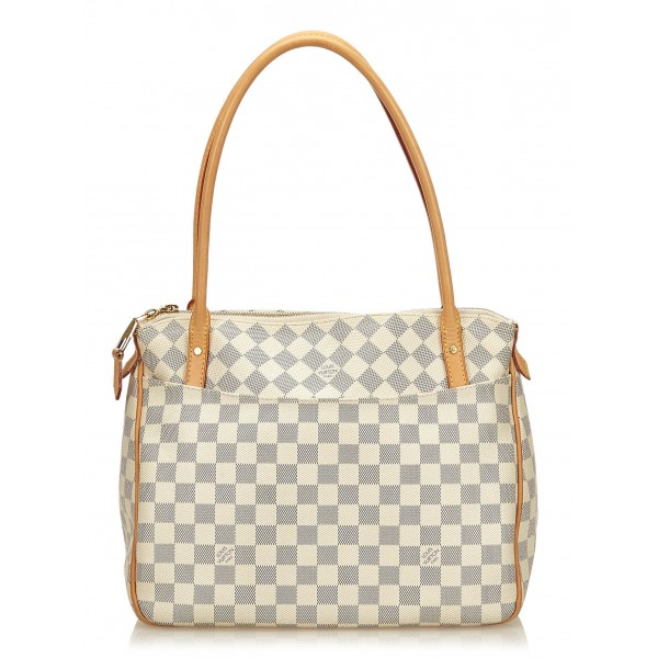 Louis Vuitton Vintage - Damier Azure Figheri PM Bag - Bianco Avorio Blu - Borsa in Pelle e Tela Damier - Alta Qualità Luxury