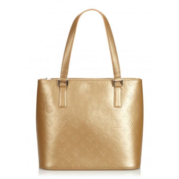 5e896e853e7a Louis Vuitton Vintage - Monogram Matt Stockton Bag - Gold Brown - Vernis Leather  Handbag -