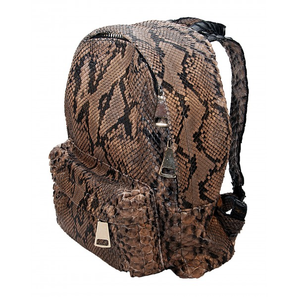 Garage par Reveil - Zoe Backpack - Python Backpack - Brown Black - Handmade in Italy - Luxury High Quality Accessory