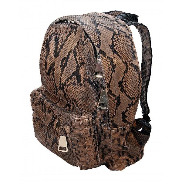 Garage par Reveil - Zoe Backpack - Zaino in Pitone - Marrone Nero - Handmade in Italy - Accessorio di Alta Qualità Luxury