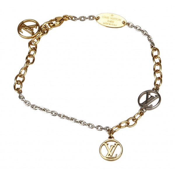 Louis Vuitton Vintage - Logomania Bracelet - Gold Silver - LV Bracelet - Luxury High Quality