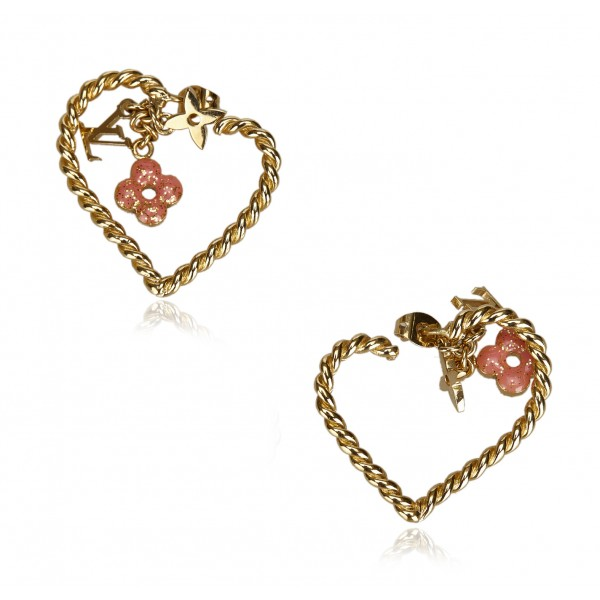 Louis Vuitton Vintage - Sweet Monogram in My Heart Hoop Earrings - Gold Pink - LV Earrings - Luxury High Quality