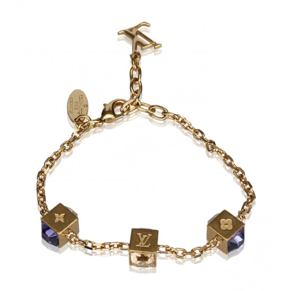 Louis Vuitton Vintage - Gamble Crystal Bracelet - Gold Purple - Gold and Swarovski Crystals - LV Bracelet - Luxury High Quality