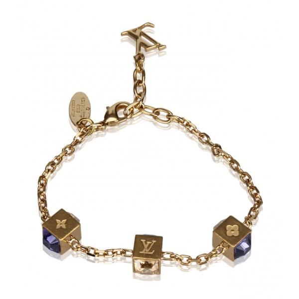 Louis Vuitton Vintage - Gamble Crystal Bracelet - Gold Purple - Gold and Swarovski Crystals - LV Bracelet - Luxury High Quality