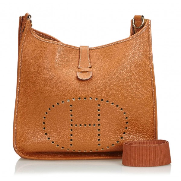 Hermès Vintage - Leather Evelyne I GM Bag - Marrone - Borsa in Pelle - Alta Qualità Luxury