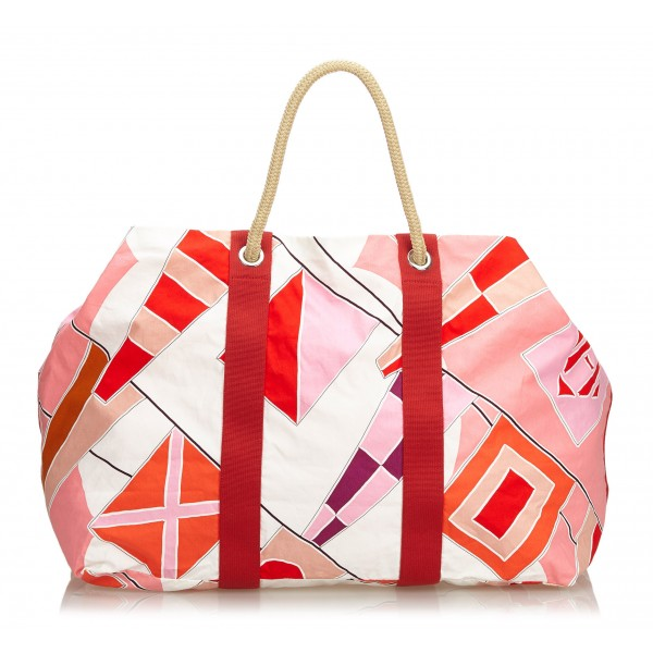 Hermès Vintage - Drapeaux Au Vent Travel Bag - Red - Fabric and Cotton Handbag - Luxury High Quality