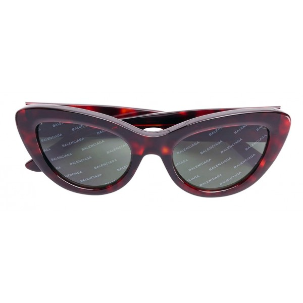 Balenciaga - Cat Eye Havana Sunglasses in Acetate with Logos  - Sunglasses - Balenciaga Eyewear