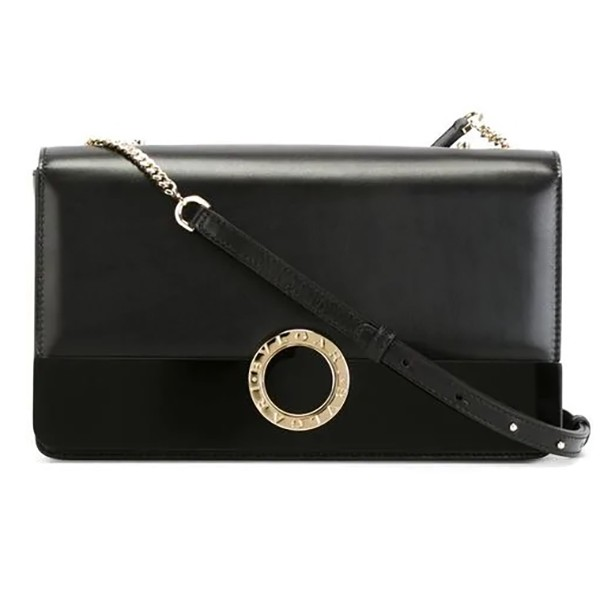 Bulgari Vintage - Leather Bulgari-Bulgari Chain Crossbody Bag - Black - Leather and Calf Leather Handbag - Luxury High Quality