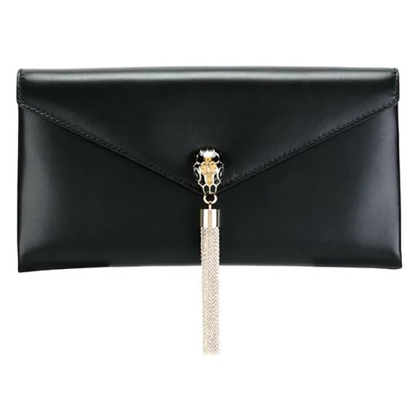 Bulgari Vintage - Leather Serpenti Clutch - Black - Leather Handbag - Luxury High Quality