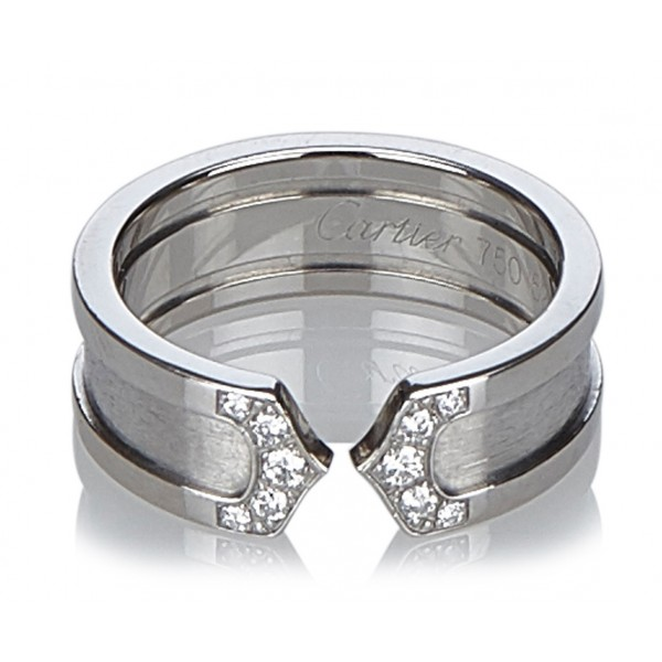 Cartier Vintage - C De Cartier Diamond Ring - Cartier Ring in White Gold with Diamonds - Luxury High Quality