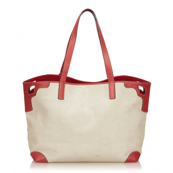 Cartier Vintage - Canvas Marcello De Cartier Tote Bag - Ivory Red - Fabric, Leather and Python Leather Bag - Luxury High Quality
