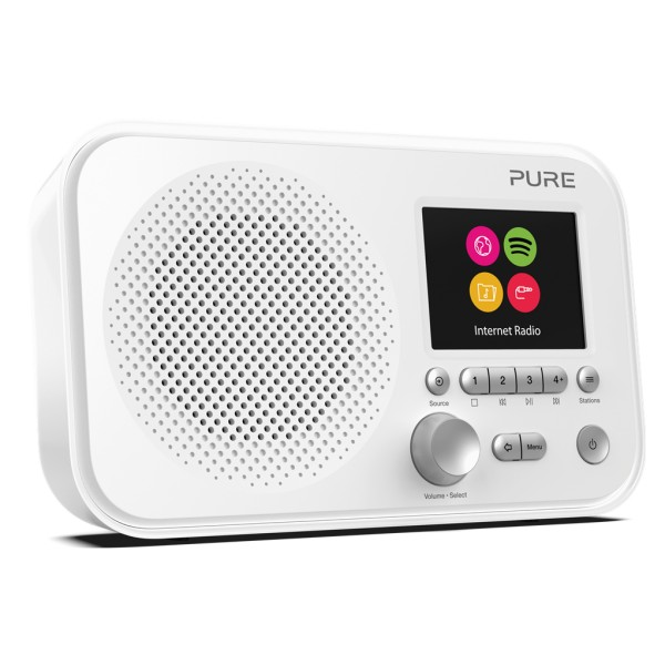 Pure - Elan IR3 - White - Portable Internet Radio with Spotify Connect - Colour Display - High Quality Digital Radio