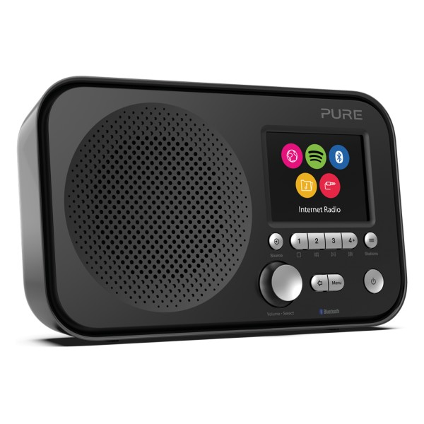 Pure - Elan IR5 - Nero - Radio Internet Portatile con Bluetooth e Spotify Connect - Schermo a Colori - Digitale di Alta Qualità