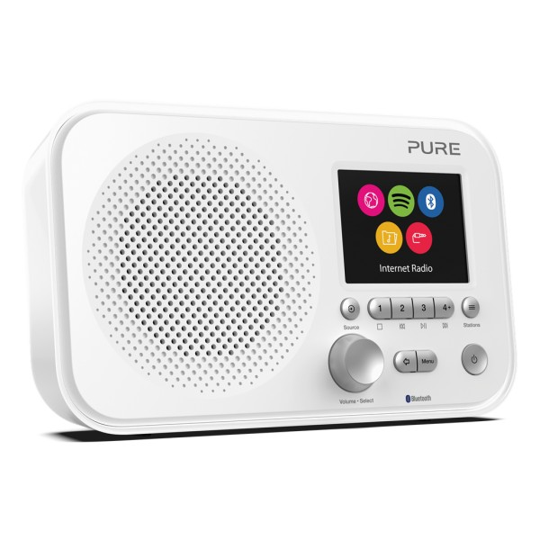 Pure - Elan IR5 - Bianca - Radio Internet Portatile con Bluetooth e Spotify Connect - Schermo a Colori - Digitale Alta Qualità