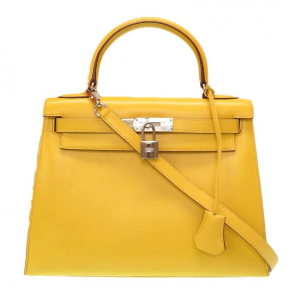 Hermès Vintage - Tadelakt Kelly 28 Bag - Yellow - Leather and Calf Handbag - Luxury High Quality