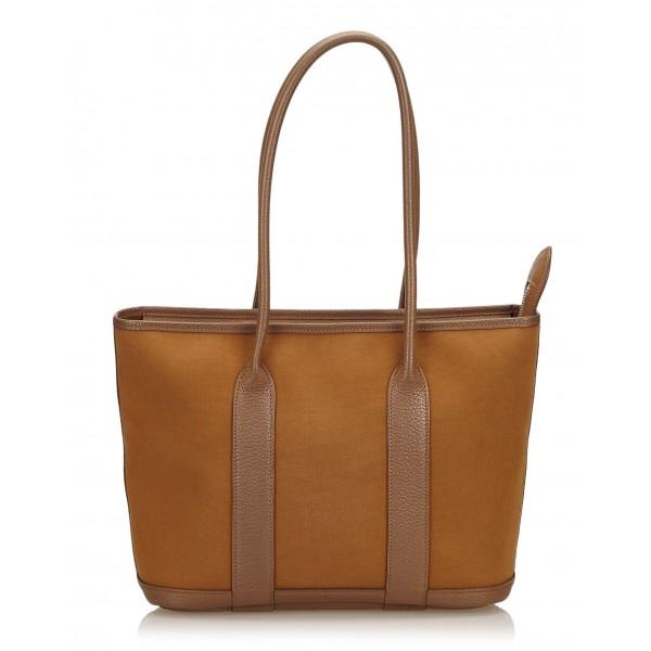 Hermès Vintage - Garden Zip PM Bag - Marrone - Borsa in Pelle e Tessuto - Alta Qualità Luxury