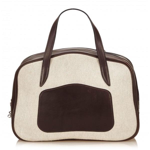 Hermès Vintage - Doha Bag - Bianca Avorio - Borsa in Pelle e Tessuto - Alta Qualità Luxury