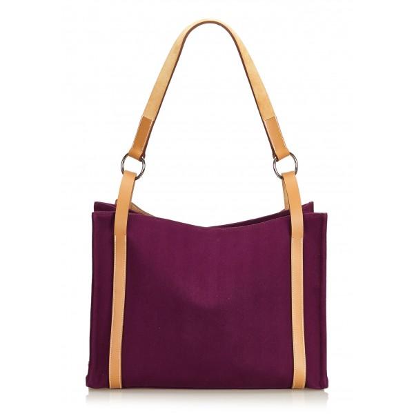Hermès Vintage - Cabalicol Canvas Tote Bag - Viola Marrone - Borsa in Pelle e Tessuto - Alta Qualità Luxury