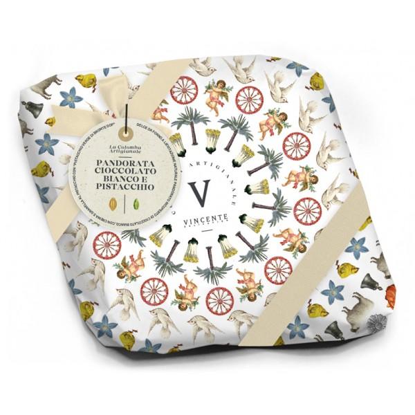 Vincente Delicacies - Normanna - Colomba Artigianale - Cioccolato Bianco e Crema Pistacchio di Bronte D.O.P. - Linea Fastuca