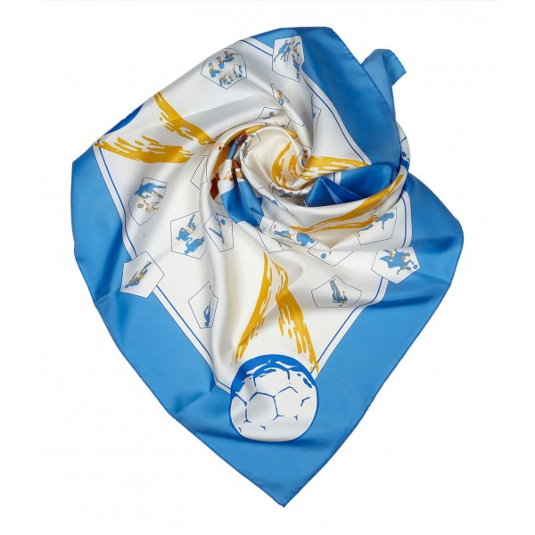 Hermès Vintage - Vive Les Champions Scarf - Light Blue Multi - Silk Foulard - Luxury High Quality