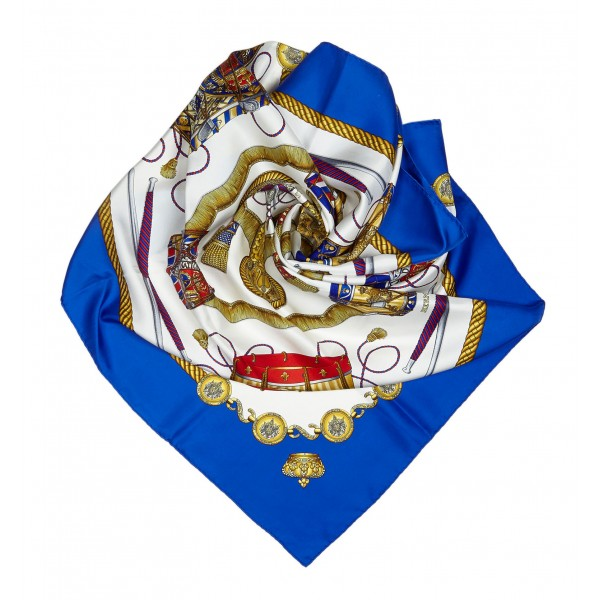 Hermès Vintage - Le Tambours Silk Scarf - Blue Navy Multi - Silk Foulard - Luxury High Quality