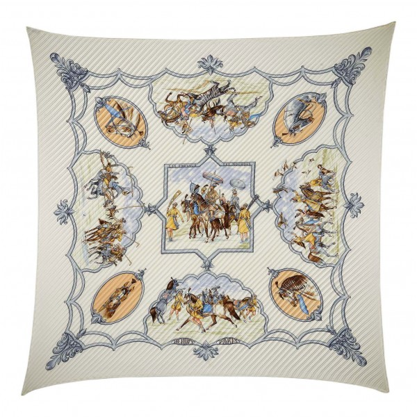 Hermès Vintage - Chevaux De Moghols Silk Scarf - White Ivory Multi - Silk Foulard - Luxury High Quality