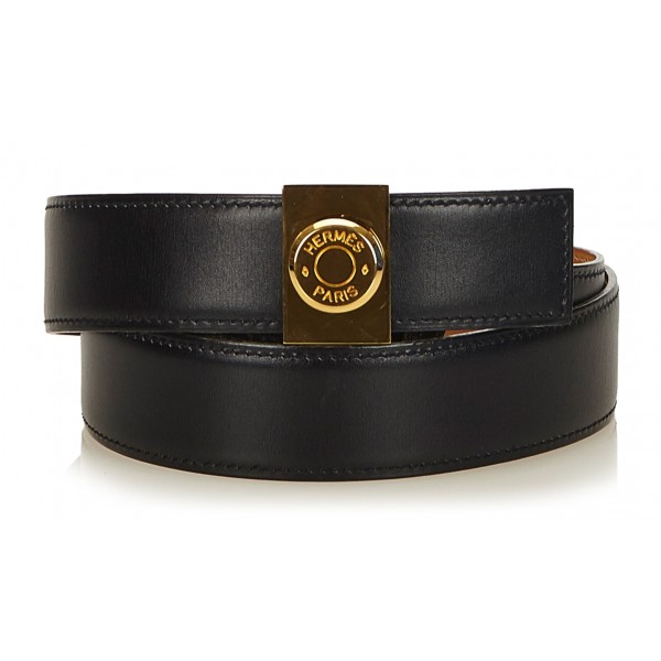 Hermès Vintage - Leather Clou De Selle Belt - Nero Oro - Cintura in Pelle - Alta Qualità Luxury