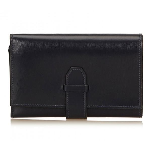 Hermès Vintage - Calf Leather Trifold Long Wallet - Blu Navy - Portafoglio in Pelle - Alta Qualità Luxury