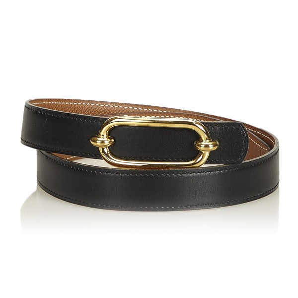 Hermès Vintage - Leather Belt - Nero Oro - Cintura in Pelle - Alta Qualità Luxury