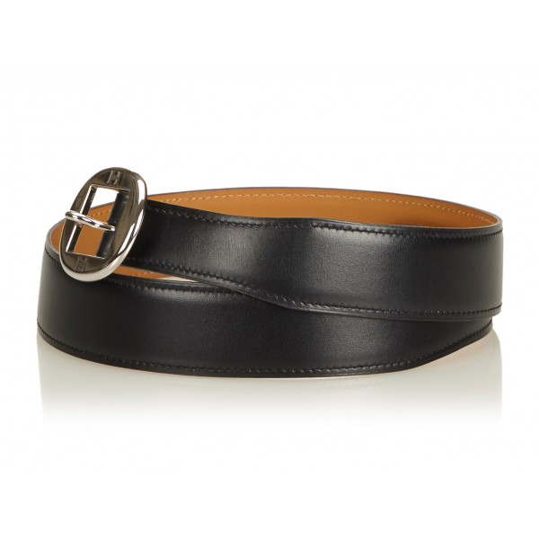 Hermès Vintage - Leather Belt - Nero Argento - Cintura in Pelle - Alta Qualità Luxury