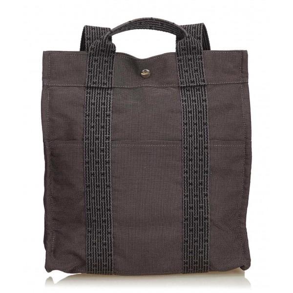 Hermès Vintage - Herline Canvas Backpack PM - Grey Dark Grey - Canvas Backpack - Luxury High Quality