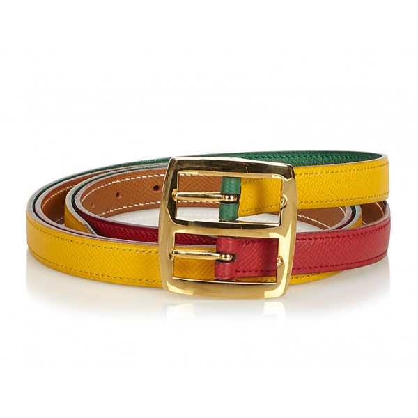 Hermès Vintage - Leather Belt - Rosso Giallo - Cintura in Pelle - Alta Qualità Luxury
