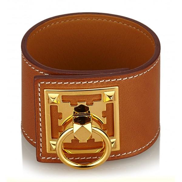 Hermès Vintage - Leather Creneau Cuff - Brown Light Brown Gold - Leather Bracelet - Luxury High Quality