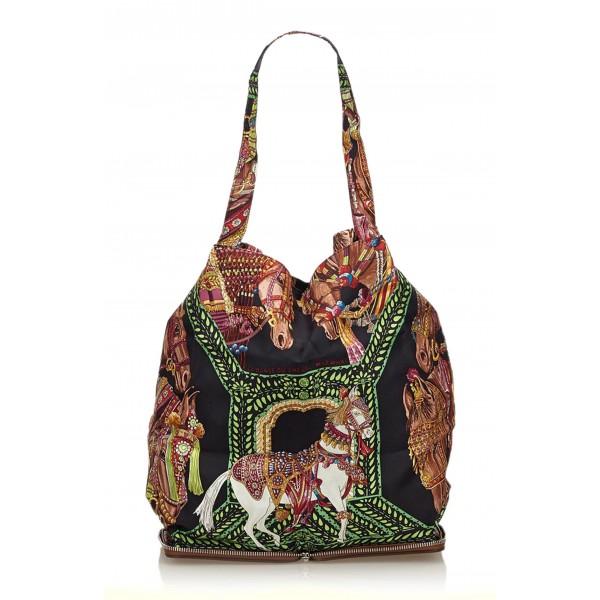 Hermès Vintage - Silky Pop Tote Bag - Marrone Multi - Borsa in Pelle Tessuto Seta - Alta Qualità Luxury