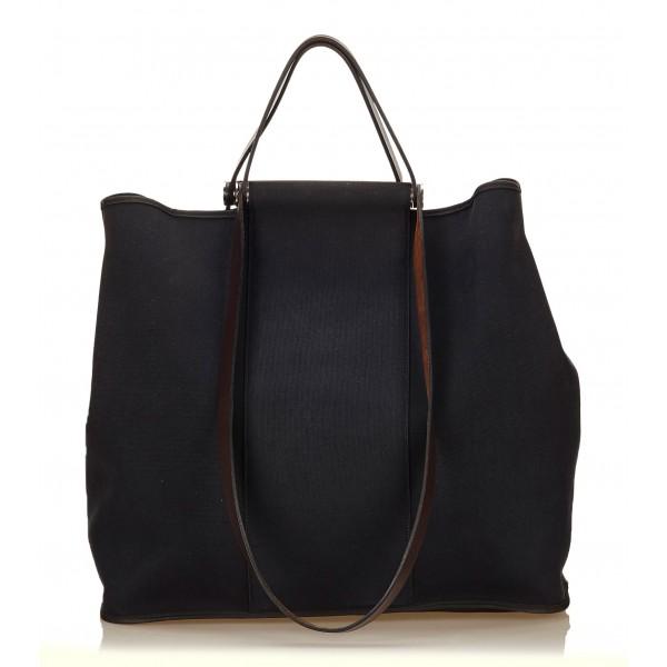 Hermès Vintage - Canvas Cabag Tote Bag - Blu Marrone - Borsa in Pelle e Tessuto - Alta Qualità Luxury