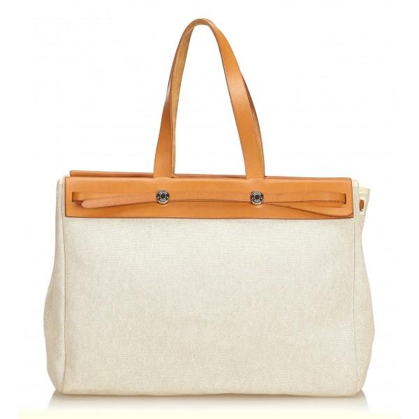 Hermès Vintage - Herbag Cabas MM Bag - Avorio Marrone Bianco - Borsa in Pelle e Tessuto - Alta Qualità Luxury