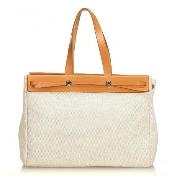 Hermès Vintage - Herbag Cabas MM Bag - Ivory Brown White - Leather and Canvas Handbag - Luxury High Quality