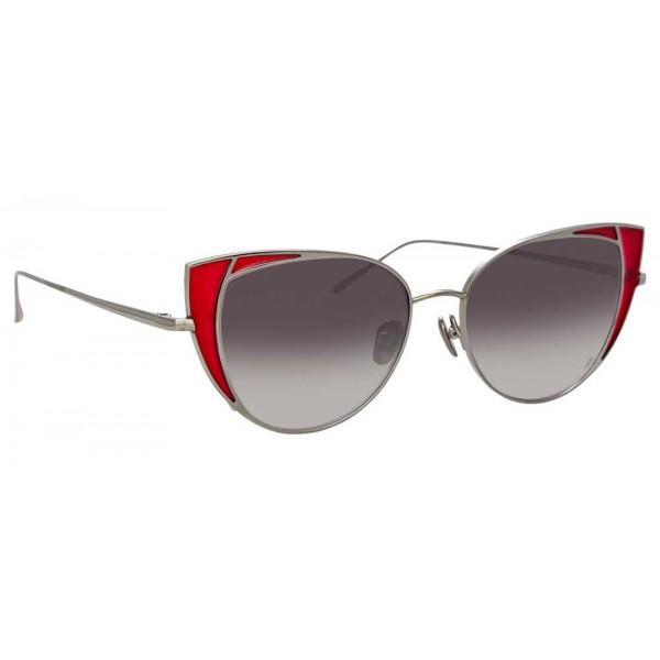 Linda Farrow - Occhiali da Sole Cat Eye 855 C5 - Oro Bianco e Cremisi - Linda Farrow Eyewear