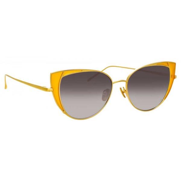 Linda Farrow - Occhiali da Sole Cat Eye 855 C3 - Oro Giallo e Giallo - Linda Farrow Eyewear