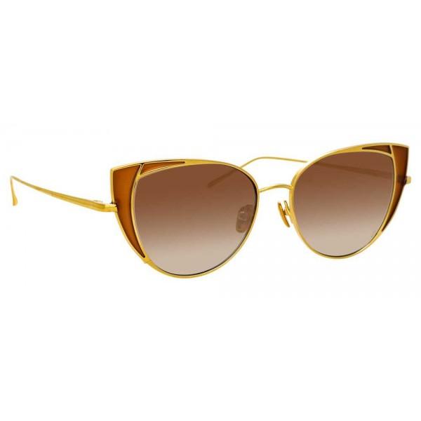 Linda Farrow - Occhiali da Sole Cat Eye 855 C2 - Oro Giallo e Tabacco - Linda Farrow Eyewear