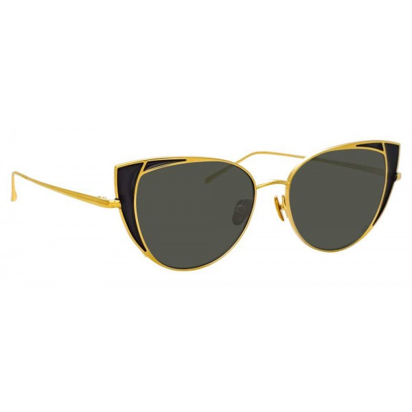 Linda Farrow - 855 C1 Cat Eye Sunglasses - Yellow Gold and Black - Linda Farrow Eyewear