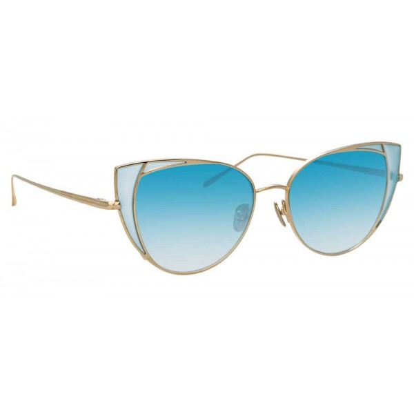Linda Farrow - Occhiali da Sole Cat Eye 855 C7 - Oro Chiaro e Blu - Linda Farrow Eyewear