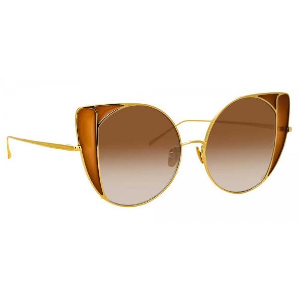 Linda Farrow - Occhiali da Sole Cat Eye 854 C2 - Oro Giallo e Tabacco - Linda Farrow Eyewear