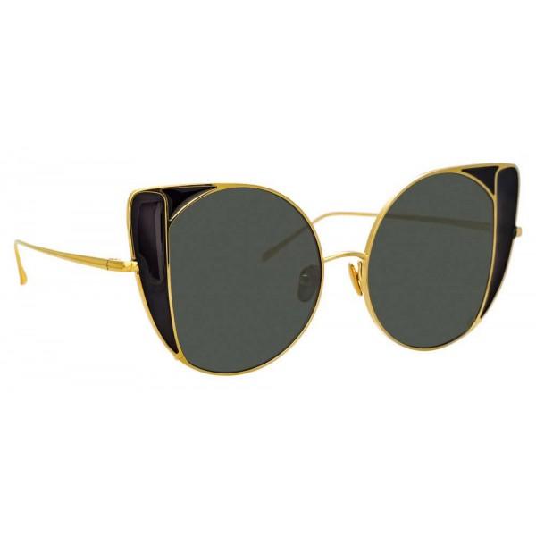 Linda Farrow - Occhiali da Sole Cat Eye 854 C1 - Oro Giallo e Nero - Linda Farrow Eyewear