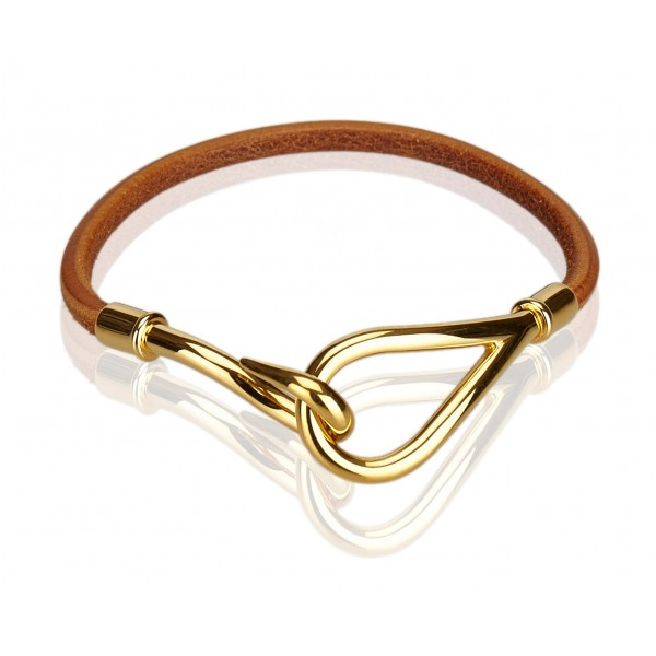 Hermès Vintage - Jumbo Hook Bracelet - Brown Light Brown Gold - Leather Bracelet - Luxury High Quality