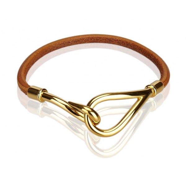 Hermès Vintage - Jumbo Hook Bracelet - Brown Light Brown Gold - Leather Bracelet - Luxury High Quality