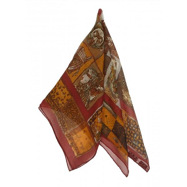 Hermès Vintage - Persona Printed Silk Scarf - Red Bordeaux Multi - Silk Foulard - Luxury High Quality